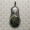 Fashion jewelry pendants, Pearl and labradorite with rhinestones, Approx 55x28x5mm, Sold by pieces