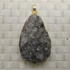 Fashion jewelry pendants, Irregular druzy agate with metal frame, Approx 49x32x15mm, Sold by pieces