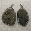 Fashion jewelry pendants, Irregular pyrite with rhinestones, Approx 51x37x18mm, Sold by pieces