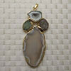 Fashion jewelry pendants, Irregular druzy quartz and agate with metal frame, Approx 76x32x5mm, Sold by pieces