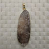 Fashion jewelry pendants, Irregular druzy agate with metal frame, Approx 45x21x11mm, Sold by pieces