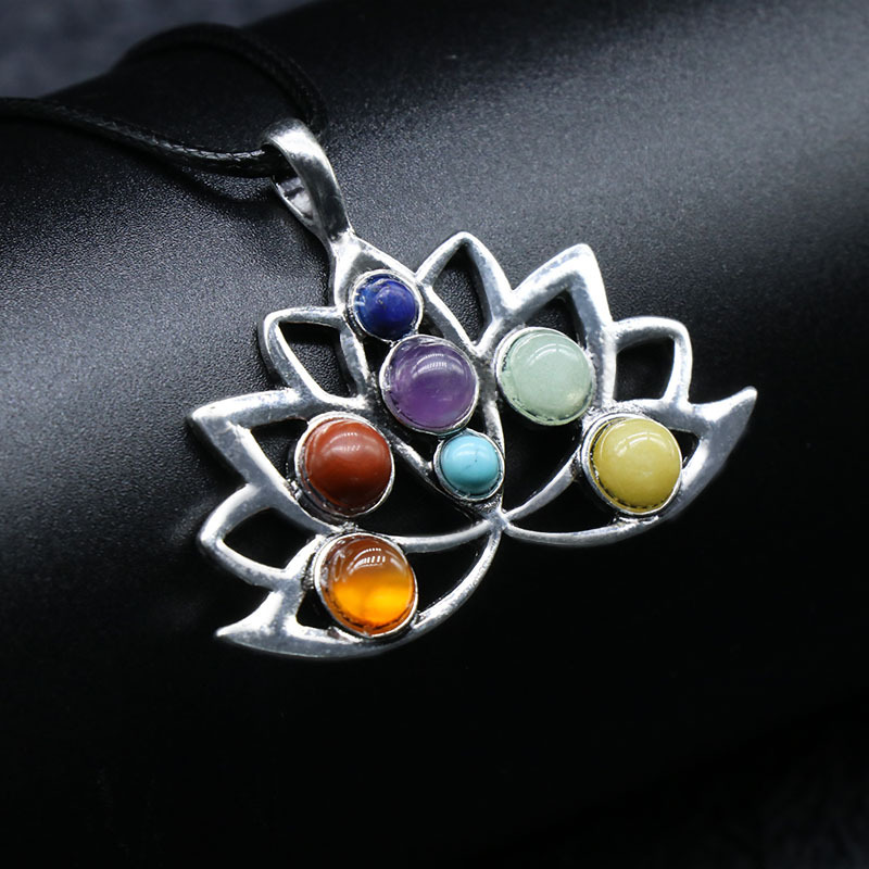 Reiki healing natural 7 color gemstone lotus amulet pendant chakra necklace, length approx 16 inches, sold by pieces