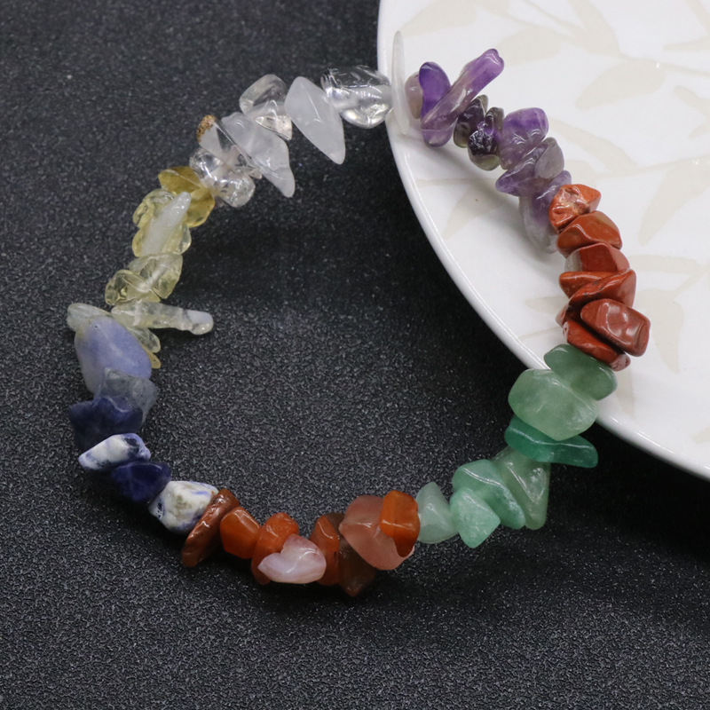Reiki healing 7 color natural gemstone chips chakra amulet elastic bracelet, sold by pieces