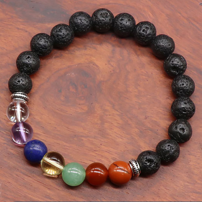 Reiki healing lava rock and 7 color natural gemstone round chakra amulet elastic bracelet, sold by pieces