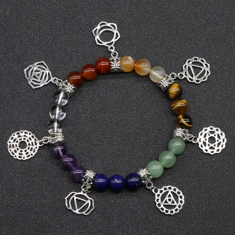Reiki healing natural 7 color natural gemstone round chakra amulet elastic bracelet with metal chakra charms, sold by pieces