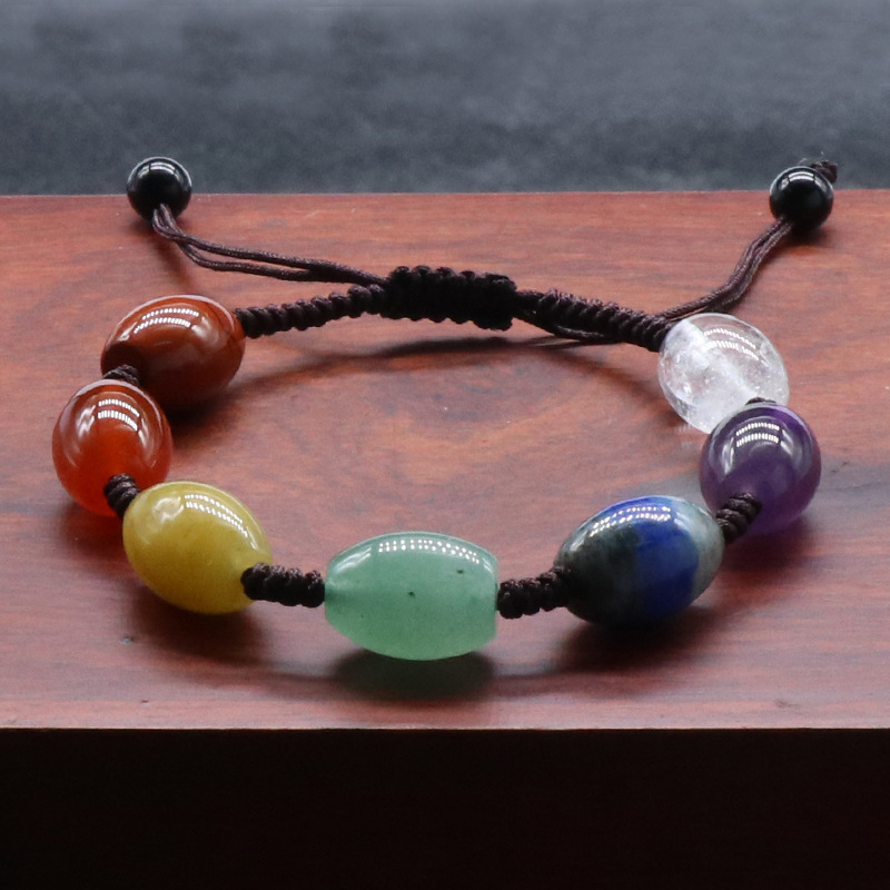 Reiki healing natural oval seven color gemstone beaded chakra amulet hand-knitted cord adjustable bracelet, sold by pieces