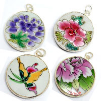 Fashion jewelry pendants, Handpainted ceramic pendants in mixed designs and shapes, No pieces alike, Size range approx 30-45mm, 20 pieces per bag, Sold by bags