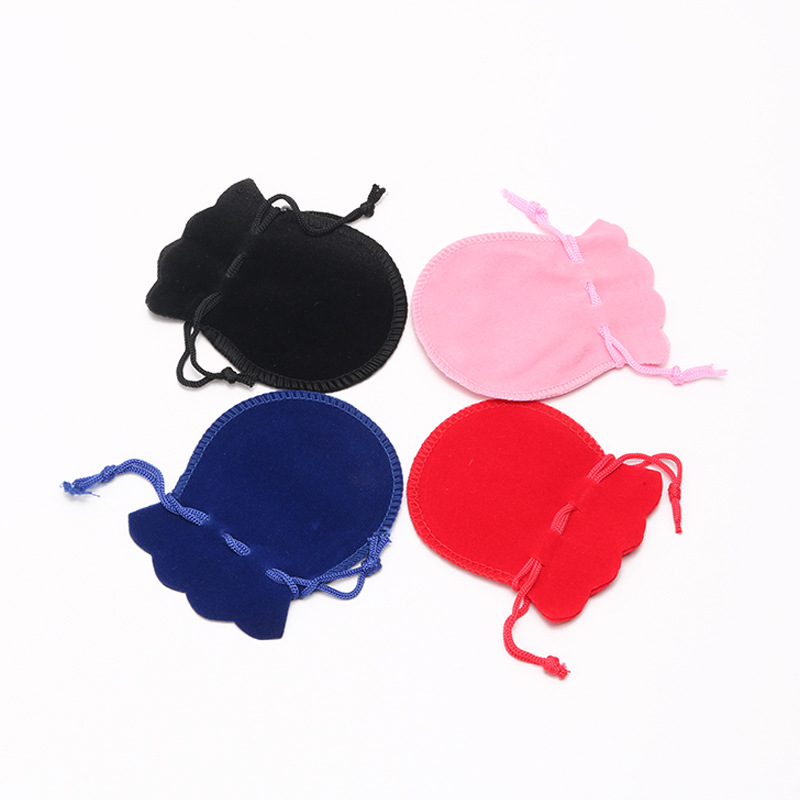 Jewelry drawstring velveteen gift pouch, Gourd shape, Approx 100x130mm, Various colors are available, Accept customized orders, Sold by pieces
