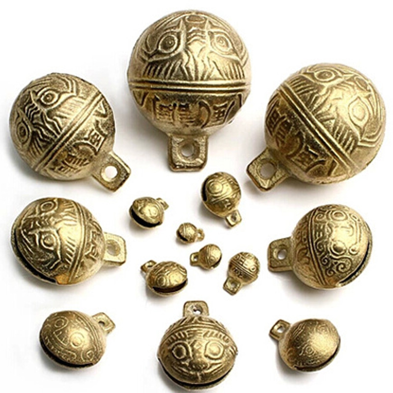 Antique brass metal bells, tiger head design, size from 9mm to 52mm, choose your favourite sizes below, sold by pieces