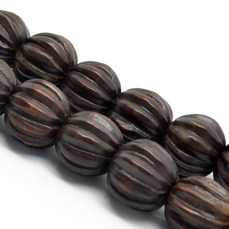 Carved Hardwood Beads, Brown, Corrugated/fluted surface, Round, Approx 14mm, Hole: Approx 3mm, pcs 28per strand, Sold by strands